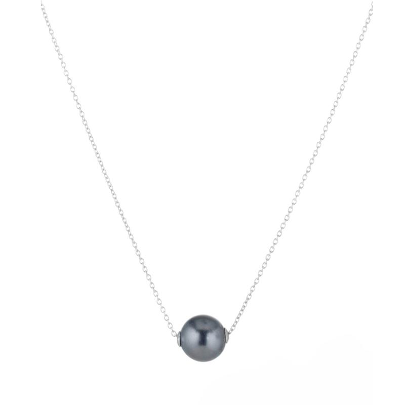 Collier argent, perle Swarovski, Tahitia