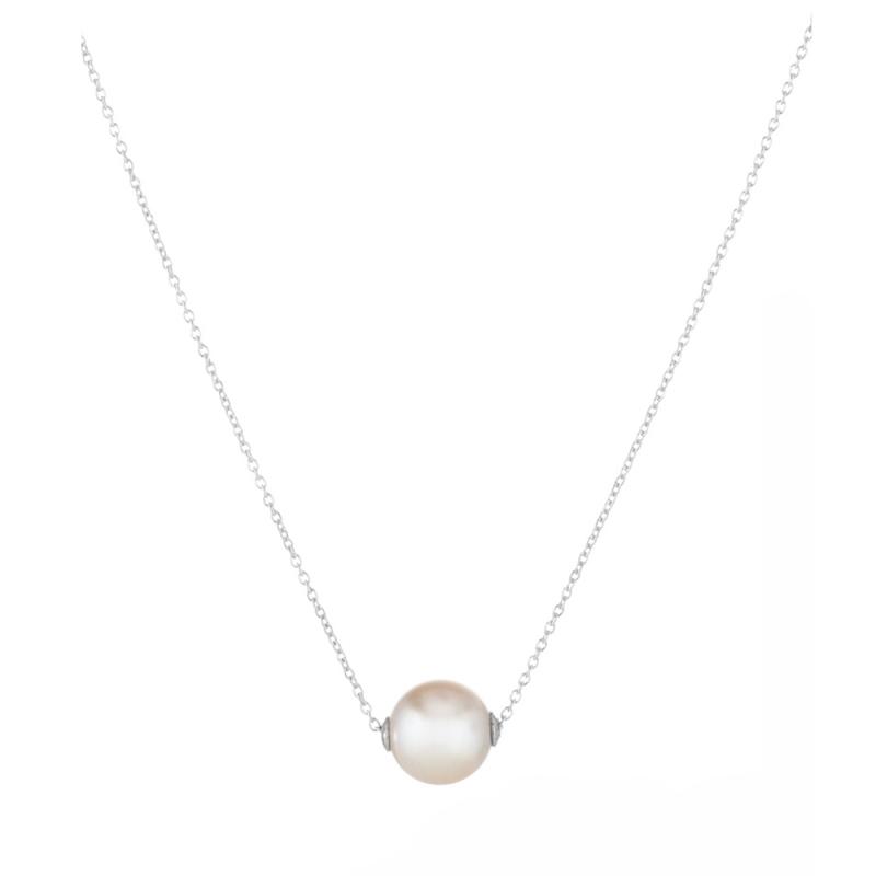 Collier argent, perle Swarovski, Rose