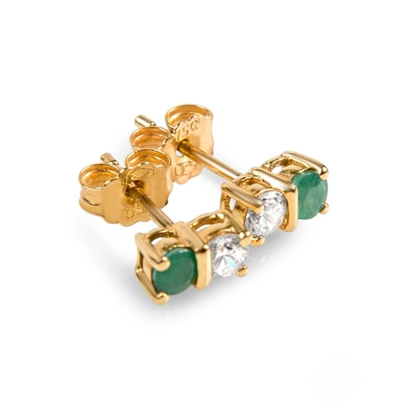 18k Yellow Gold Emerald and Zirconia Earrings, ADELE