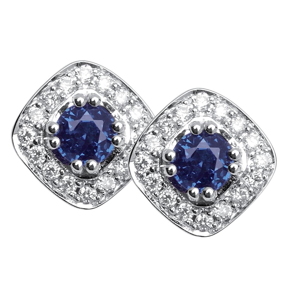 Sherazade - Boucles d'oreilles or, diamants et saphirs de Ceylan