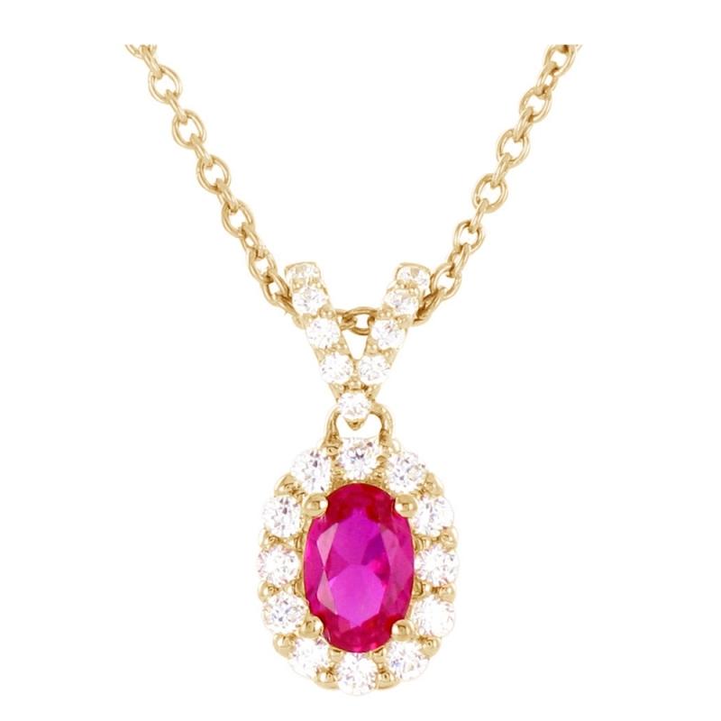 Collier or jaune, Rubis et Diamants , Ania