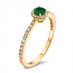 Chiara bague or jaune 18 carats emeraude et diamants Diveene joaillerie