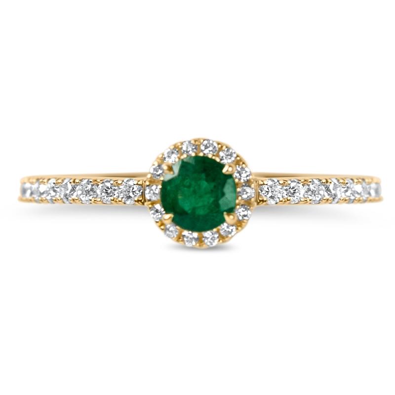 18k Yellow Gold Emerald and Diamond Ring , Chiara