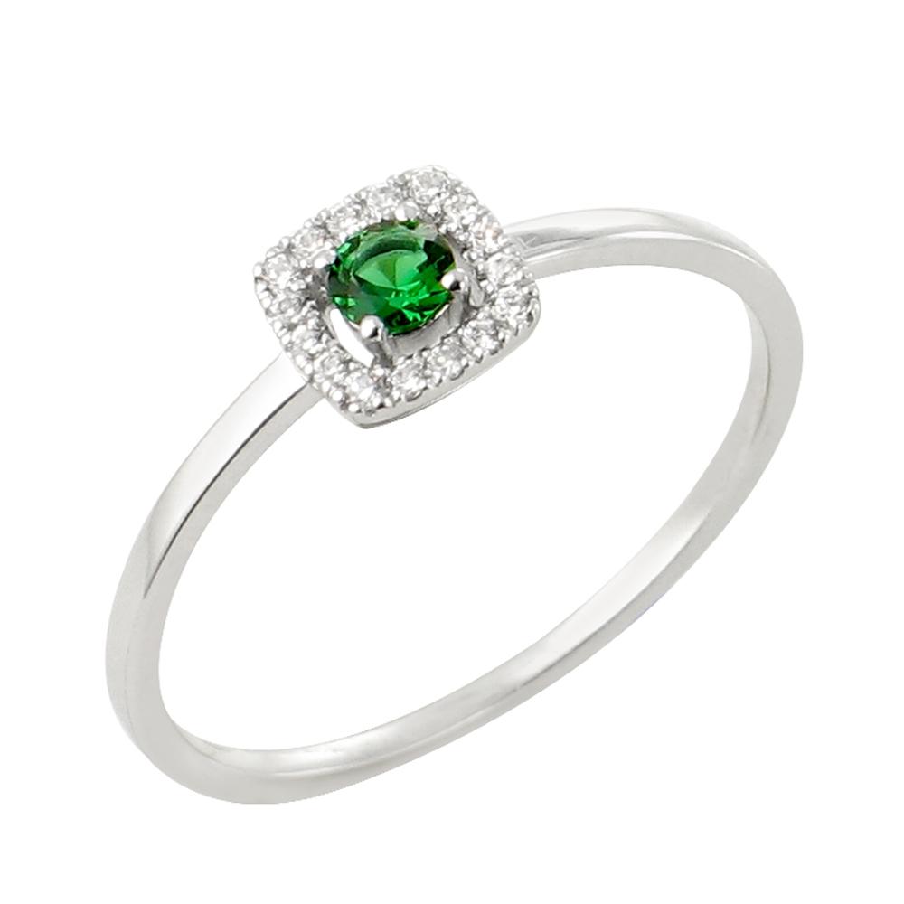 Rita bague or blanc 18 carats emeraude et diamants Diveene joaillerie