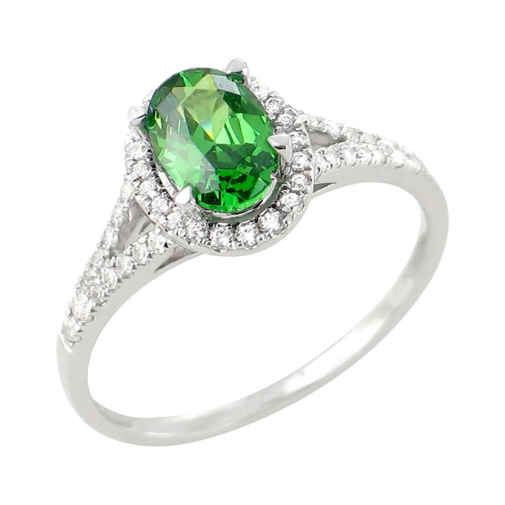 Jade bague or blanc 18 carats emeraude et diamants Diveene joaillerie
