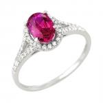 Rayssa bague or blanc 18 carats rubis et diamants Diveene joaillerie