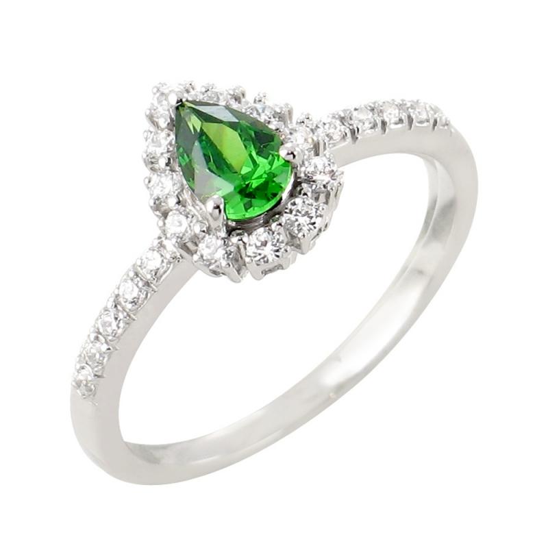 18k White Gold Emerald and Diamond Ring , Claira
