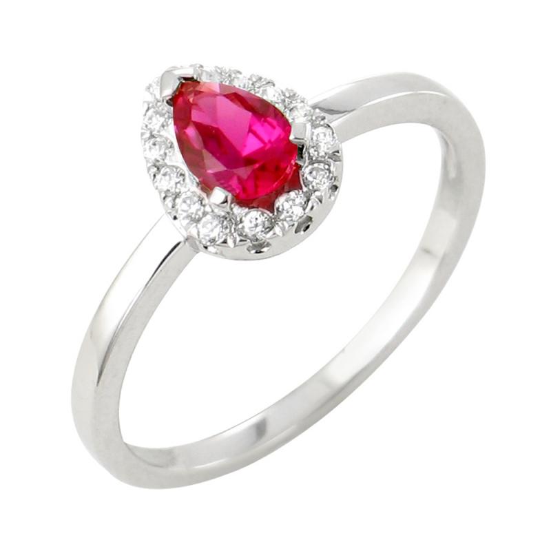 18k White Gold Ruby and Diamond ring , Helena