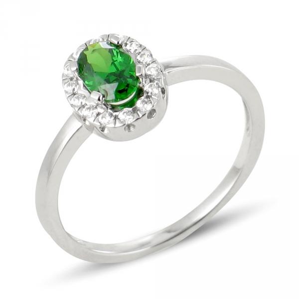 Nurhan bague or blanc 18 carats emeraude et diamants Diveene joaillerie