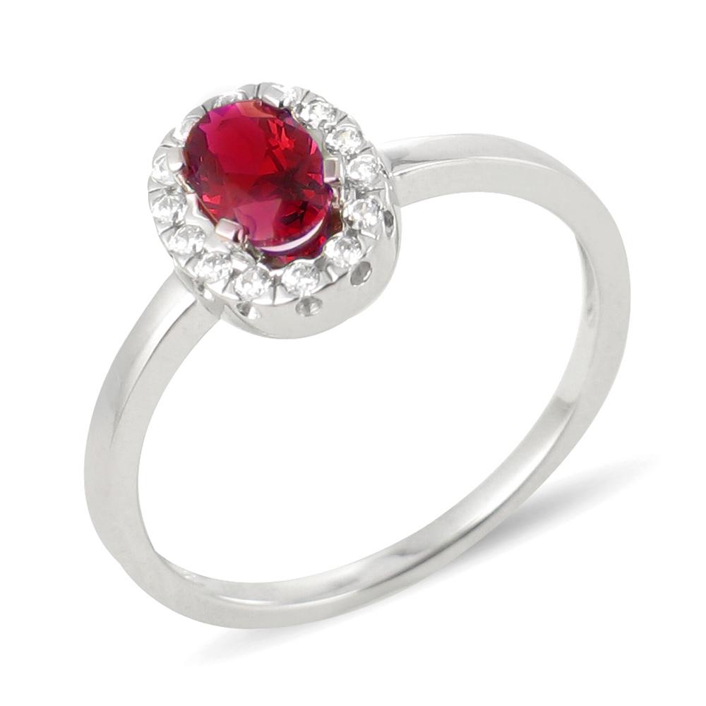 Saba bague or blanc 18 carats rubis et diamants Diveene joaillerie