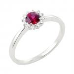 Ursuline bague or blanc 18 carats rubis et diamants Diveene joaillerie