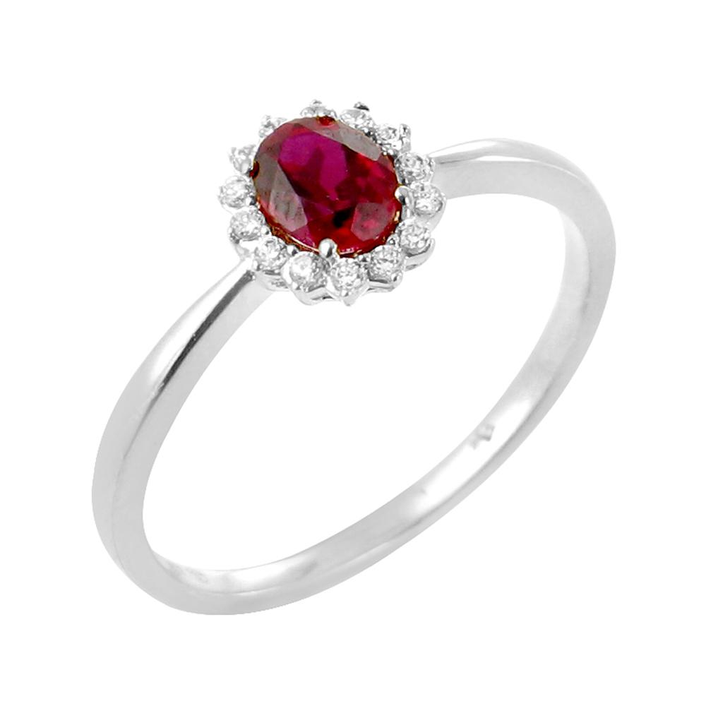 Rosa bague or blanc 18 carats rubis et diamants Diveene joaillerie