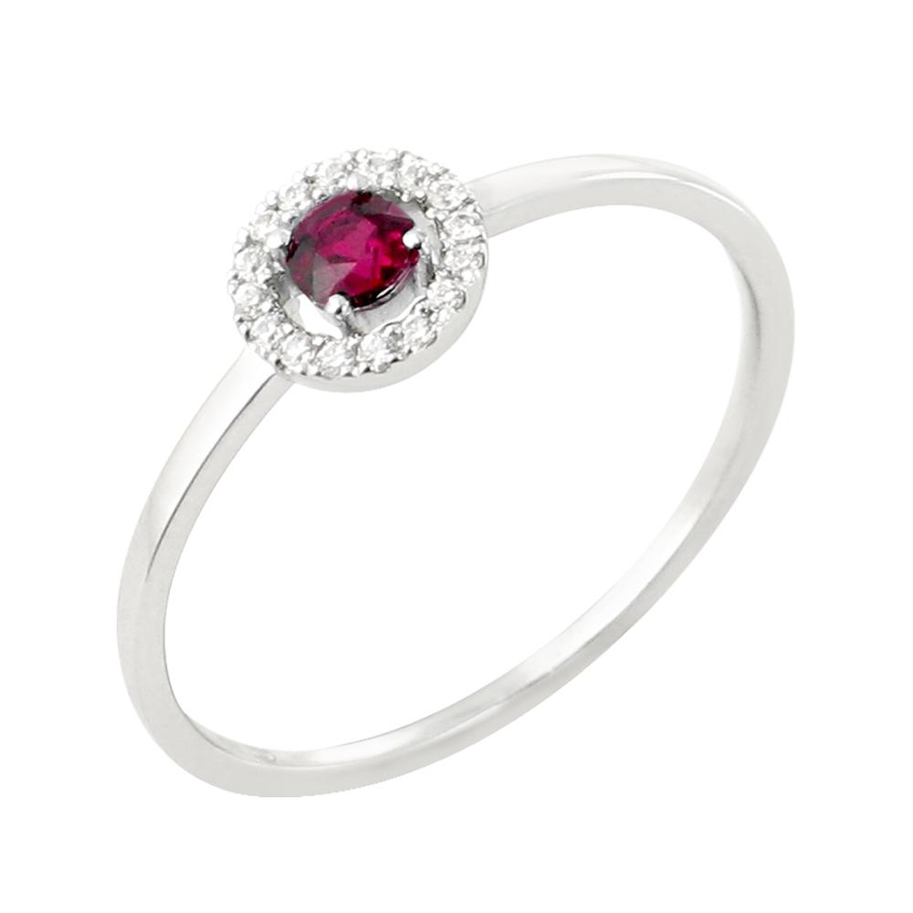 Lucia bague or blanc 18 carats rubis et diamants Diveene joaillerie