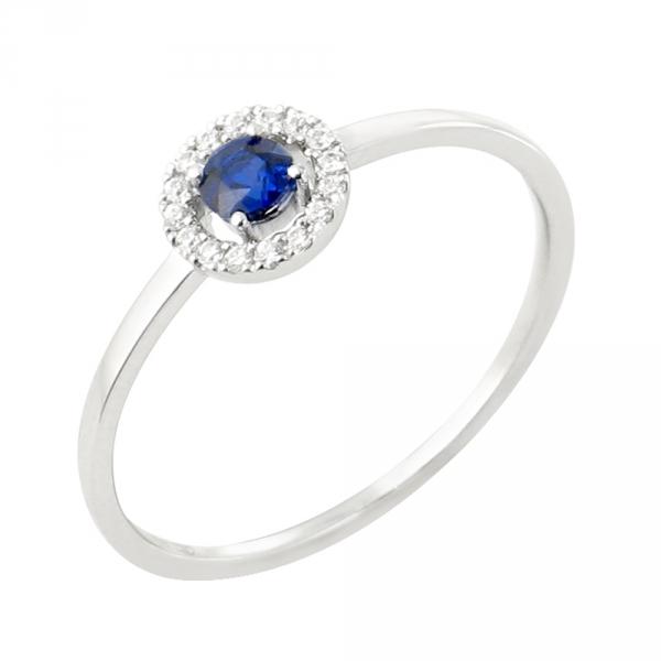 Paola bague or blanc 18 carats saphir et diamants Diveene Paris