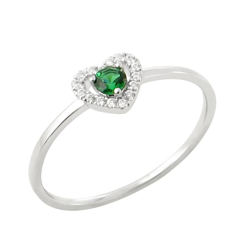 18k White Gold Emerald and Diamond Ring , Anka