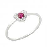 Myrtille bague or blanc 18 carats rubis et diamants Diveene joaillerie