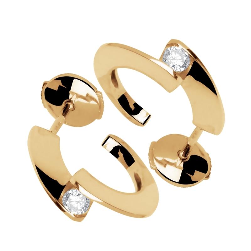 Boucles d'oreilles or jaune, Diamants , Tara