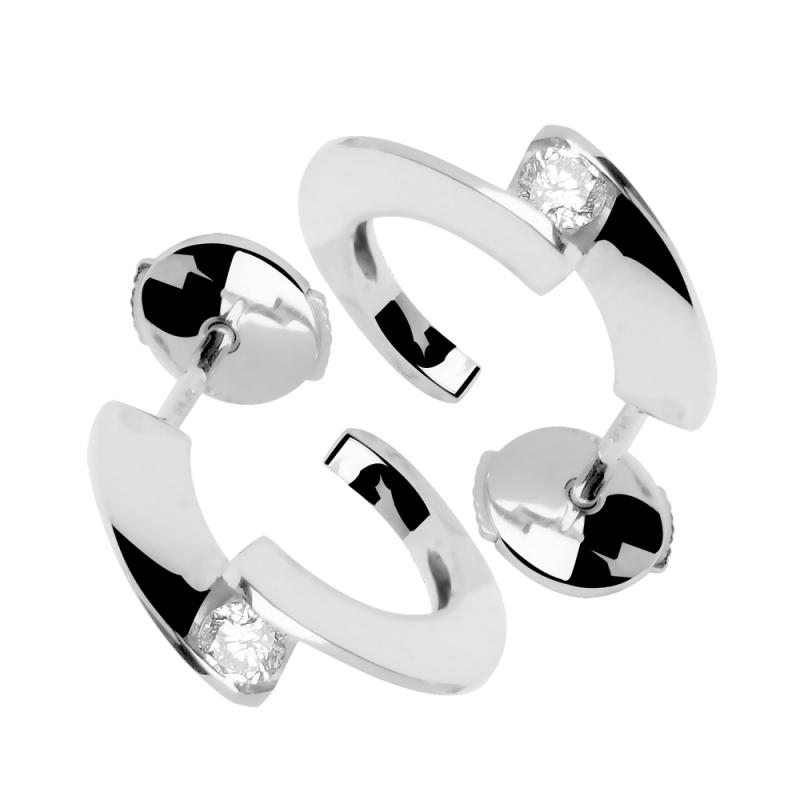 Boucles d'oreilles or blanc, Diamants , Tara