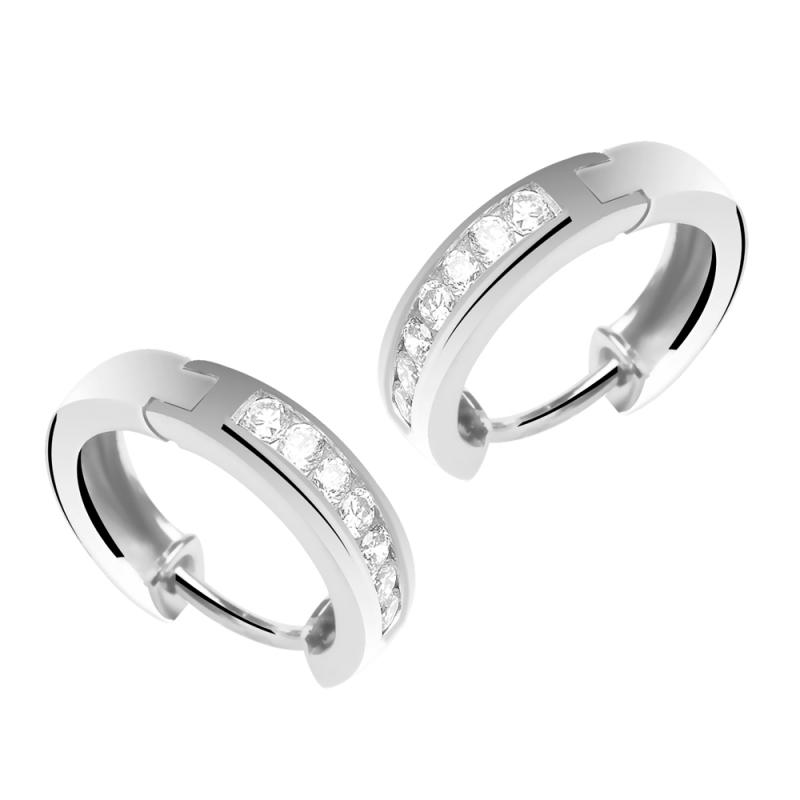 Créoles or blanc, Diamants , Livia 25a3cd38fb1e