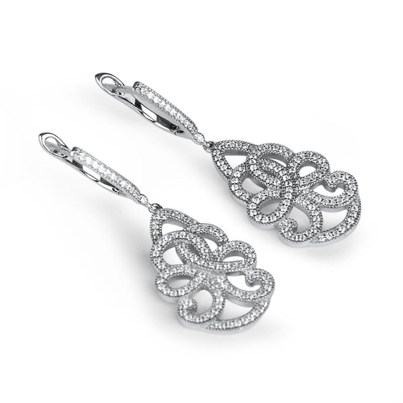 Boucles d'oreilles argent, oxydes de zirconium, Paola