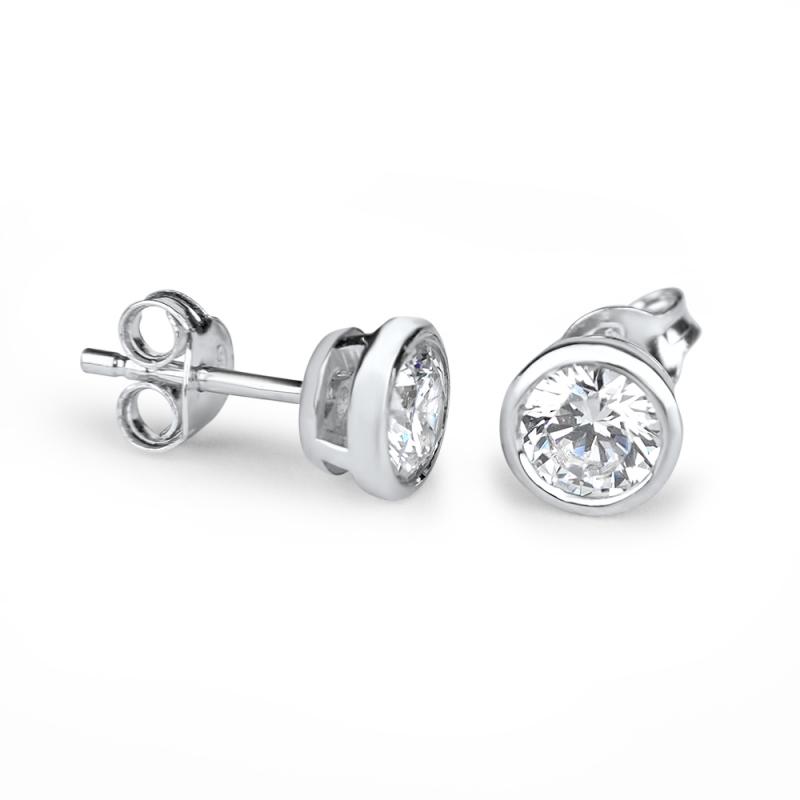 Boucles d'oreilles argent, oxydes de zirconium, Celia