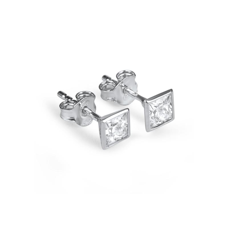 Boucles d'oreilles argent, oxydes de zirconium, Pia
