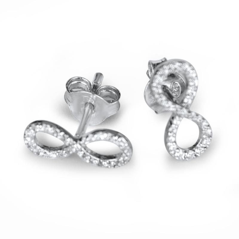 Boucles d'oreilles argent, oxydes de zirconium, Infinity