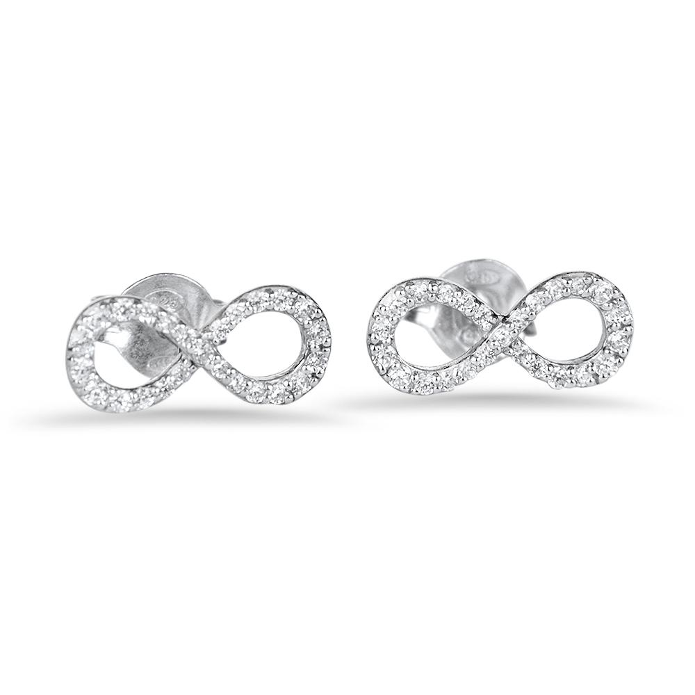 Infinity - Boucles d'oreilles en argent et oxydes de zirconium