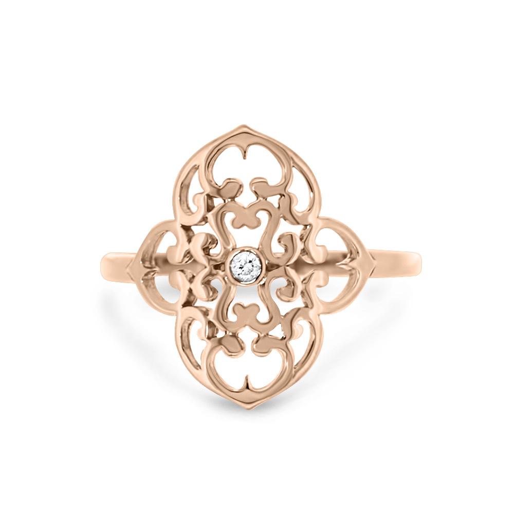 Trèfle - Bague vermeil rose et diamant
