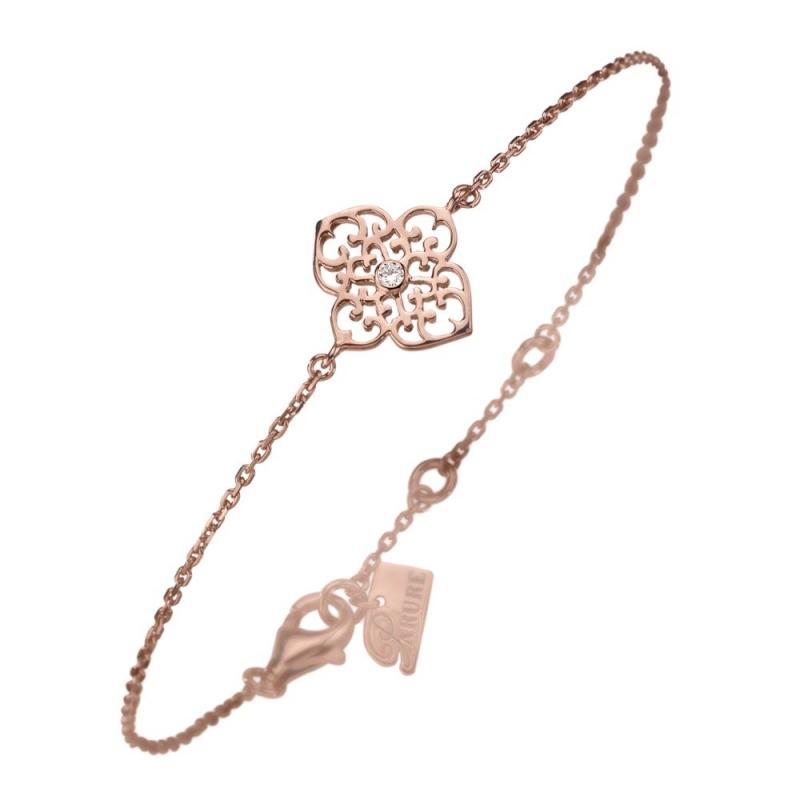 Bracelet vermeil rose, Diamant , Trèfle M