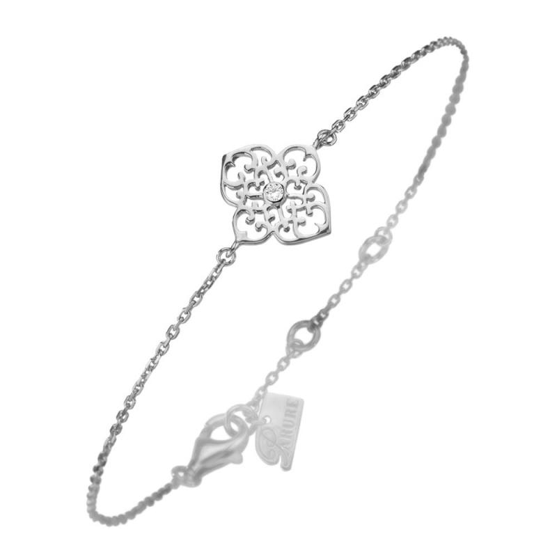 Bracelet en argent, Diamant , Trèfle M