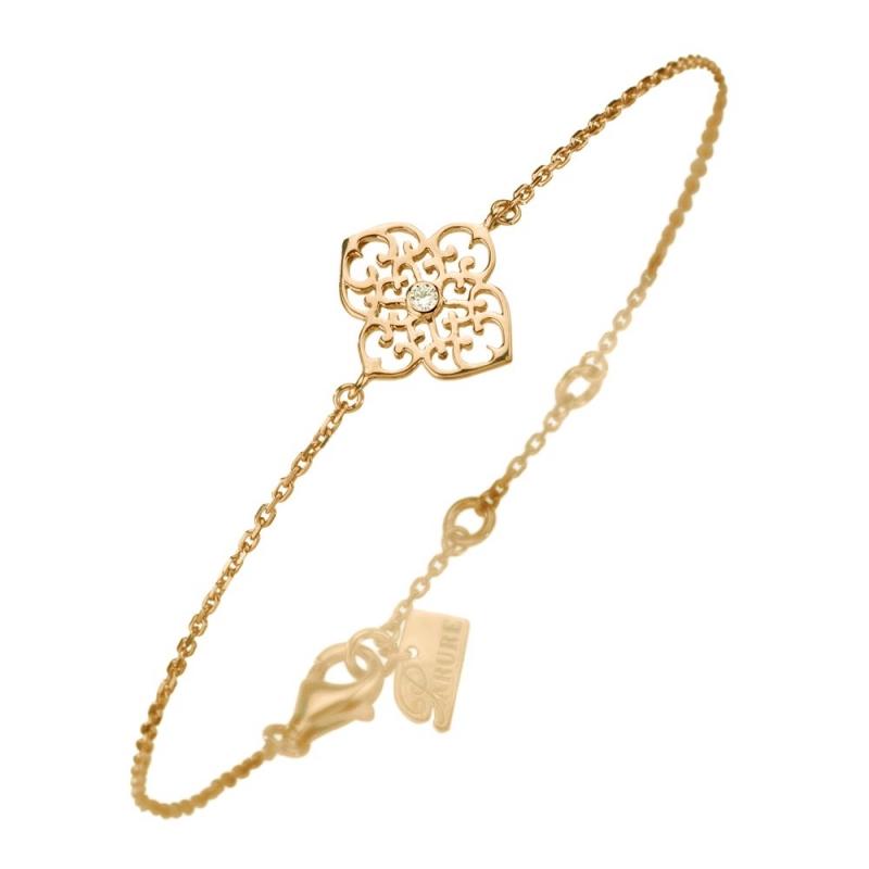 Bracelet vermeil jaune, Diamant , Trèfle M