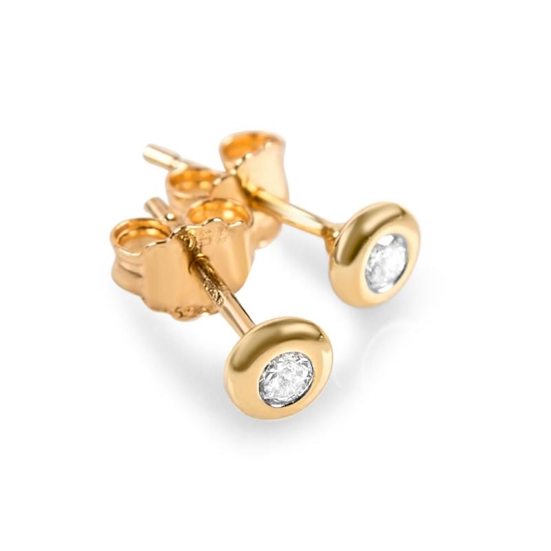 Boucles d'oreilles or jaune, oxydes de zirconium , Danika