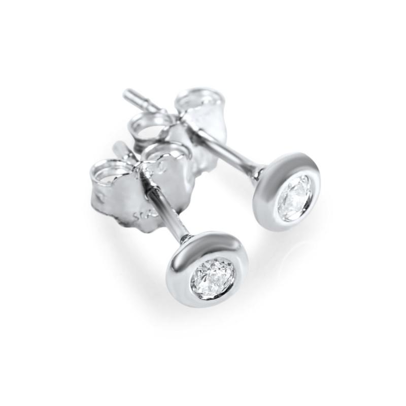 Boucles d'oreilles or blanc, Oxydes de zirconium , Danika