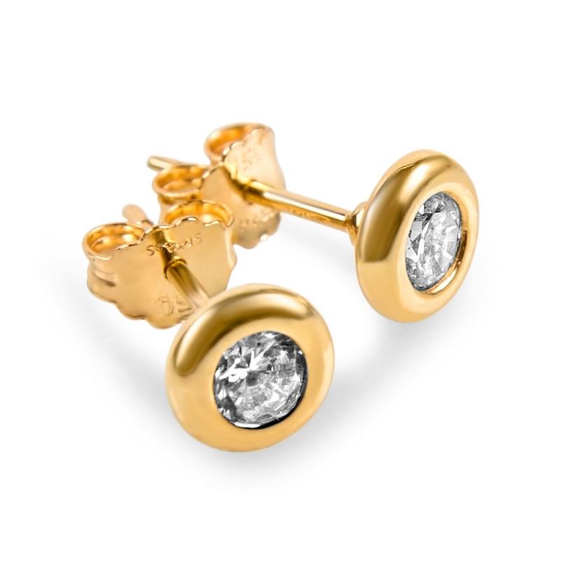 Boucles d'oreilles or, Oxydes de zirconium , Olena