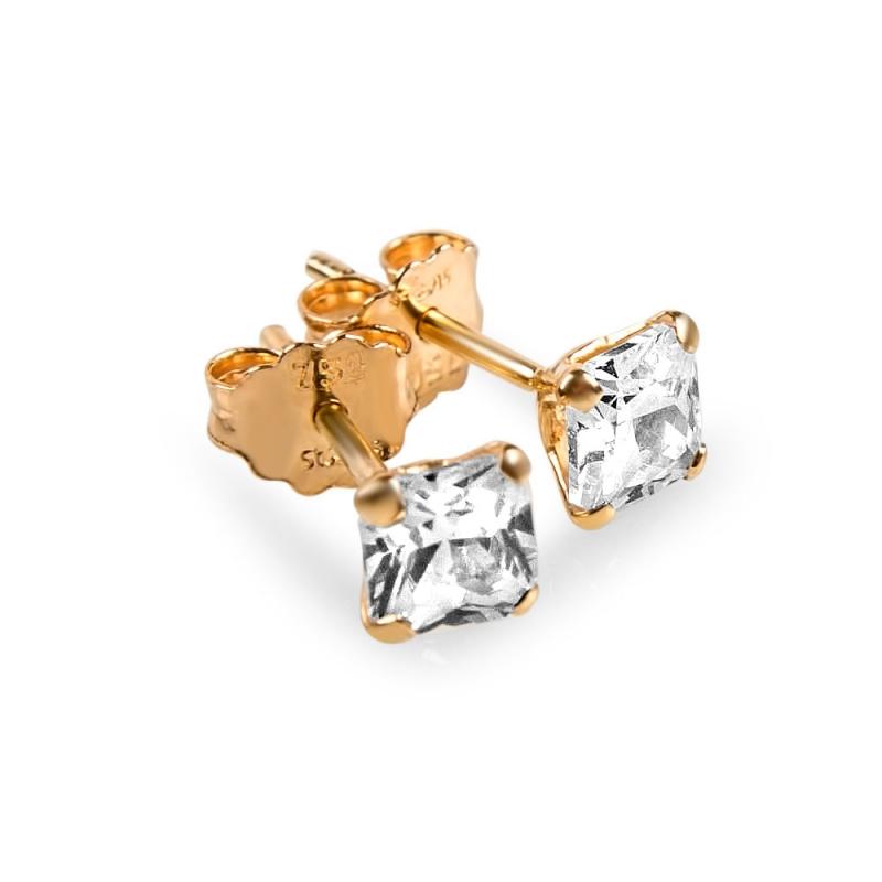 Boucles d'oreilles or, Oxydes de zirconium , Lili