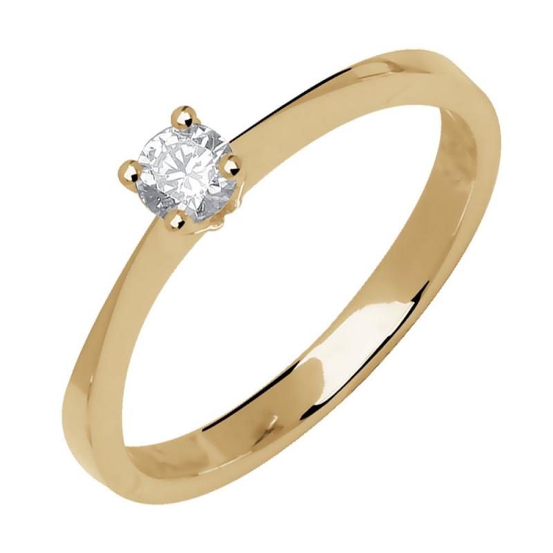 Bague solitaire or jaune, Diamant , Je te veux