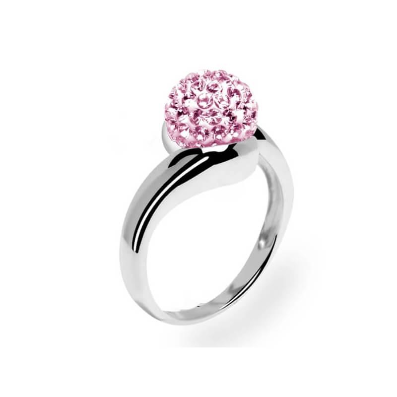Bague en argent, cristal Swarovski, Grand Tourbillon Rose