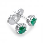 COLOMBIANA Boucles d'oreilles or, diamants et émeraudes