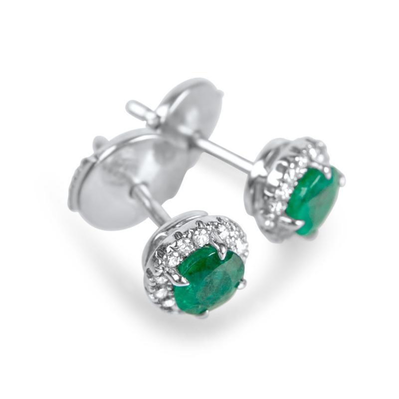 Boucles d'oreilles en or, Emeraudes, Diamants , COLOMBIANA
