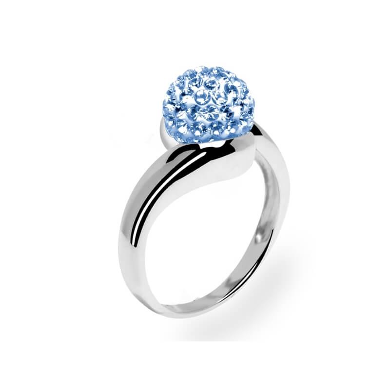 Bague en argent, cristal Swarovski, Grand Tourbillon Aquamarine