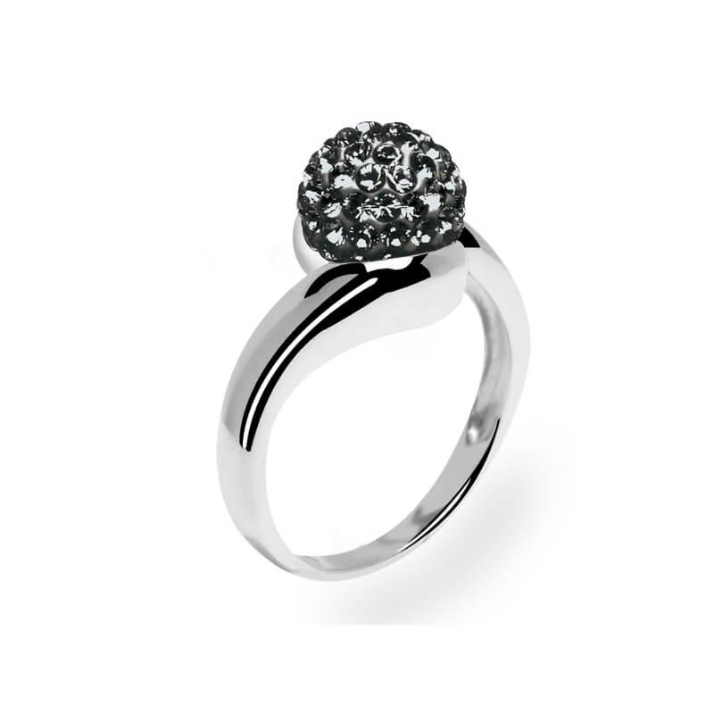Bague en argent, cristal Swarovski, Grand Tourbillon Black Diamond