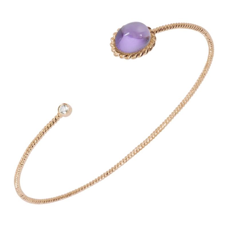 Bracelet jonc or, Améthyste et Diamant , Berlingot Toi et Moi