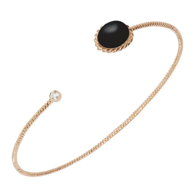 Bracelet jonc or, Onyx et Diamant , Berlingot Toi et Moi