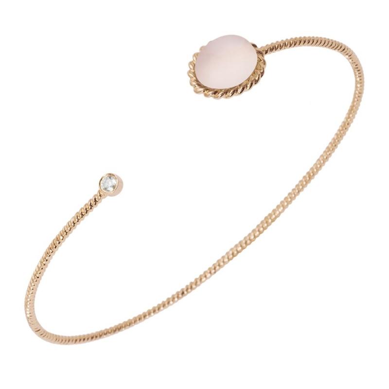 Bracelet jonc or, Quatrz rose et Diamant , Berlingot Toi et Moi