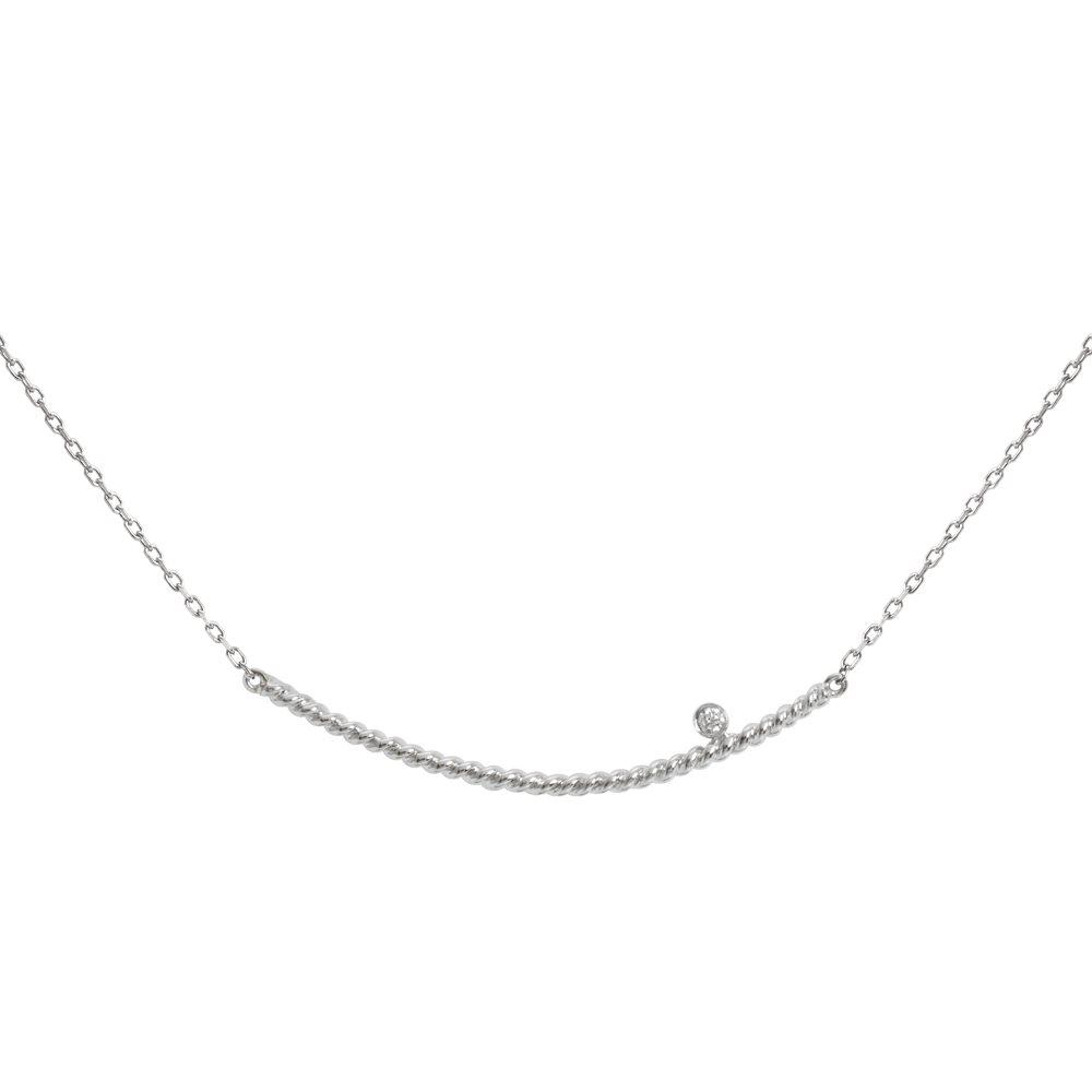 Diamini Solitaire Collier or blanc et diamant Diveene joaillerie