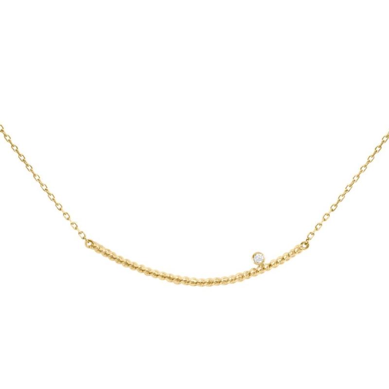 Collier or jaune, Diamant , Diamini Solitaire