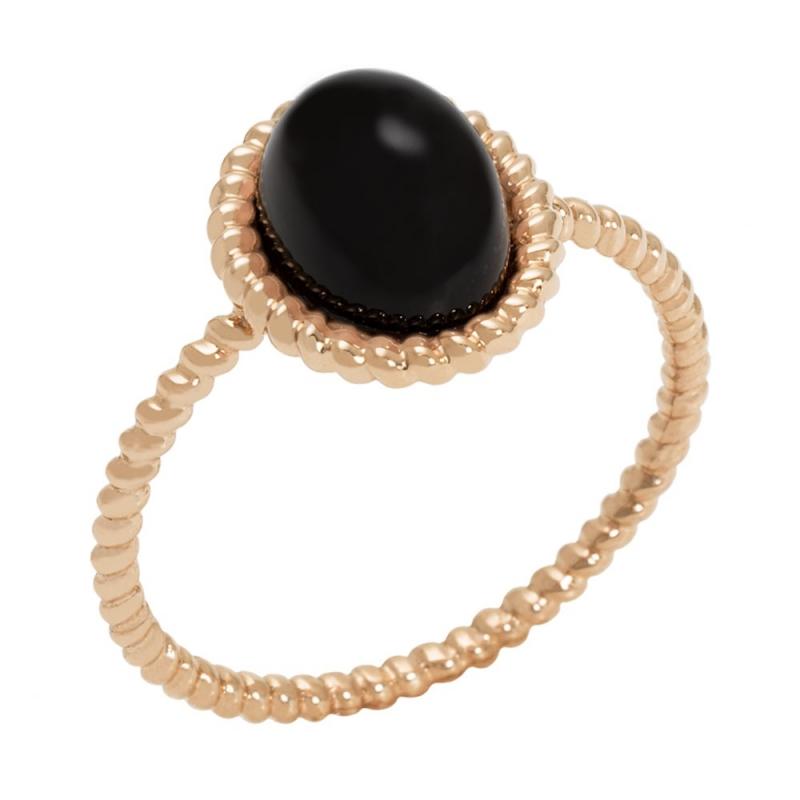 18k Rose Gold Black Onyx Ring, Berlingot Mini