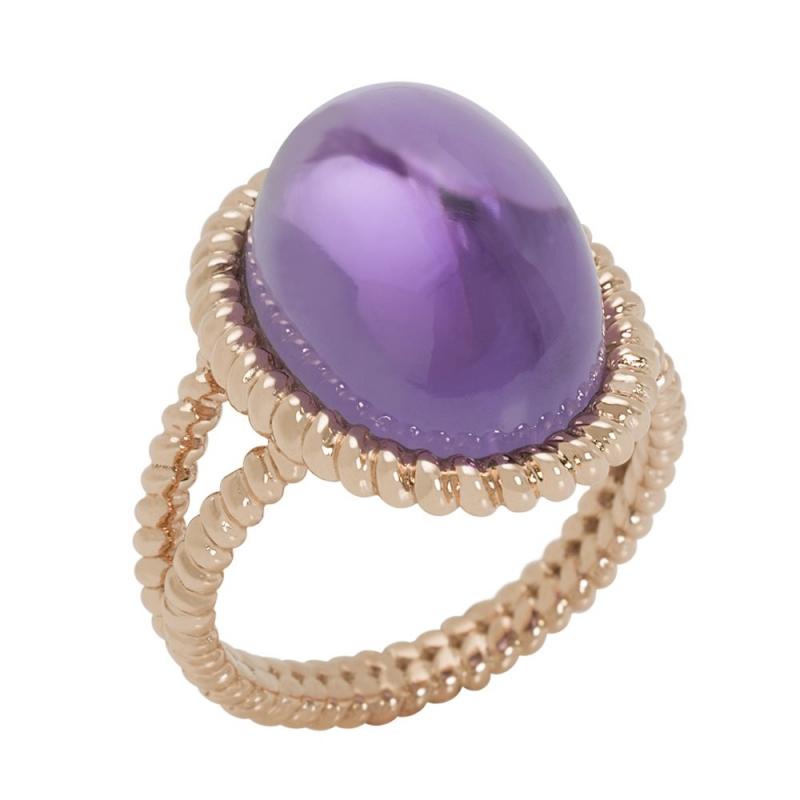 18k Rose Gold Amethyst Cabochon Ring, Berlingot Maxi
