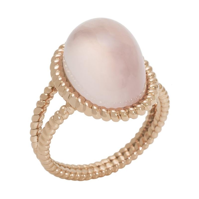18k Rose Gold Quartz Cabochon Ring, Berlingot Maxi